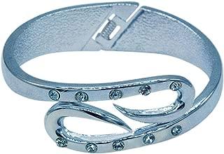 Silver Hinged Bangle Bracelet with 10 Rhinestones