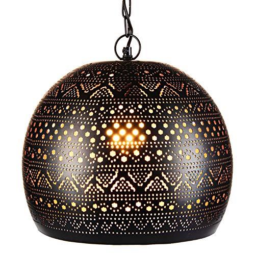 Orientalische Lampe Pendelleuchte Herera 30cm Schwarz E27 Lampenfassung | Marokkanische Design Hängeleuchte Leuchte | Orient Lampen für Wohnzimmer, Küche oder Hängend über den Esstisch