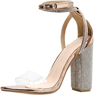Corriee Dress Sandals for Women Summer Open Toe Ankle Strappy Clear Rhinestone High Heel Party Shoes