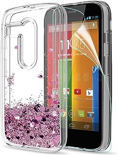 6233e33022b LeYi Funda Motorola Moto G Silicona Purpurina Carcasa con HD Protectores de  Pantalla,Transparente Cristal