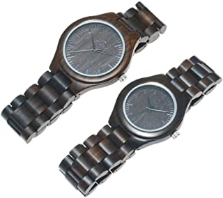 Montre en bois avec bracelet en cuir véritable, montre à quartz japonaise, légère et décontractée, pour homme et femme, li...