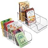 mDesign Plastic Food Packet Kitchen Storage Organizer Bin Caddy - Holds Spice Pouches