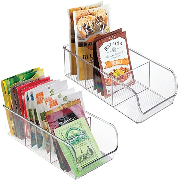 MDesign Plastic Food Packet Kitchen Storage Organizer Bin Caddy Holds Spice Pouches Dressing Mixes Hot Chocolate Tea Sugar Packets In Pantry Cabinets Or Countertop 2 Pack Clear
