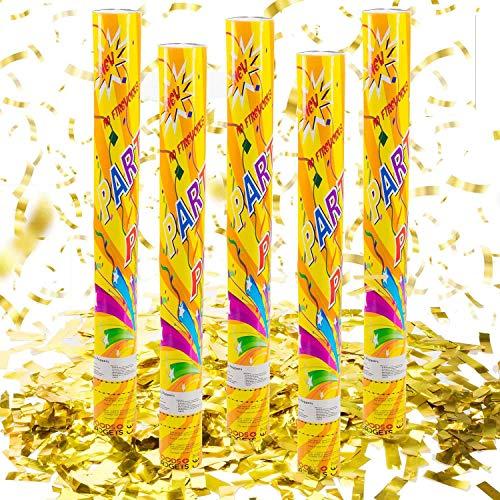 Konfetti-Kanone Konfetti-Shooter Party Popper Konfettikanone - XL 60 cm Gold - 5 Set