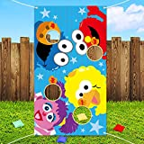 ANGOLIO Elmo Toss Game with 4 Bean Bags Sesame Beanbag Toss Game Outdoor Indoor Elmo Birthday Party Supplies Decorations Sesame Theme Party Game Carnival Game for Kids and Adults