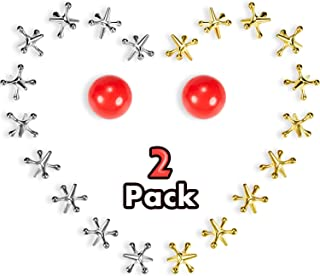 2 Sets Jacks Game Toys Kit, Include 2 Pieces Red Rubber Balls and 20 Pieces Metal Jacks for Kids and Adults