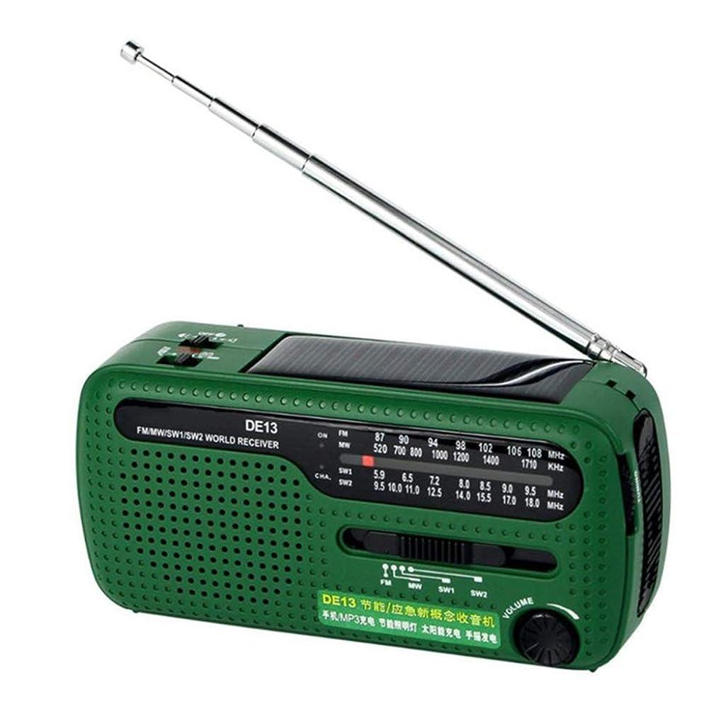 ダッシュやりすぎ拡散するSUPVOX ポータブル緊急ハンドクランクセルフパワードAM FMソーラーラジオ(LED懐中電灯付き)電話充電器(グリーン)