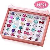 PinkSheep Little Girl Jewel Rings in Box, Adjustable, No Duplication, Girl...