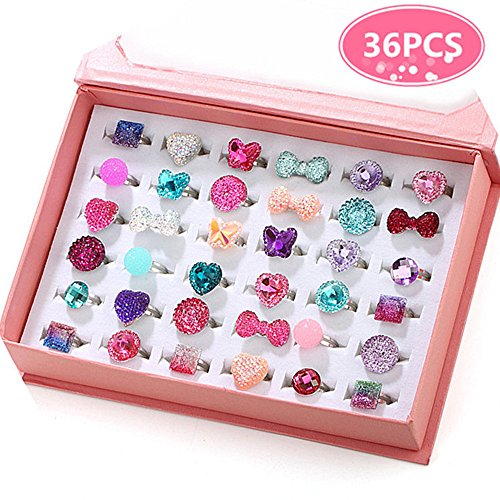 PinkSheep Little Girl Jewel Rings in Box, Adjustable, No Duplication, Girl Pretend Play and Dress Up…