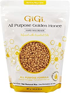 GiGi Hard Wax Beads, Golden Honee All Purpose Hair Removal Wax, no strip needed, 32 oz