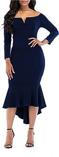 Fishtail Dresses for Women Midi Bodycon Dress Long Sleeve V Neck Cocktail Dress