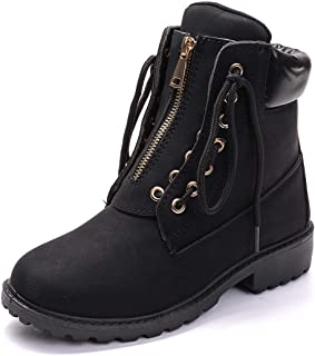 Waterproof Ankle Bootie for Women Round Toe Lace Up Low...