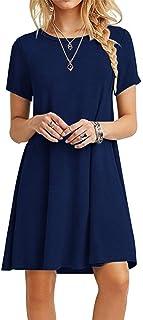 MOLERANI Women`s Casual Plain Simple T-Shirt Loose Dress