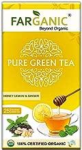 FARGANIC Lemon Ginger Honey 100% Certified Organic Green Tea Bag - 25 TEA BAGS