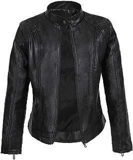 DISSA P8006 Women Faux Leather Bomber Jacket Slim Coat Leather Jacket