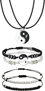 Pack of 6 Couples Bracelets Matching Yin Yang Adjustable Braided Cord with Necklace Black and White Beads Bracelet for BFF...