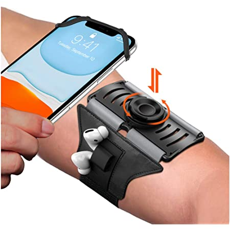 VUP Upgraded Running Armband Detachable & 360°Rotation with AirPods/AirPods Pro Holder Phone Armband for iPhone, Samsung, All Screen Friendly Fits All 4-6.7 Inch Smartphones for Running Biking (Black)