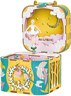 Rolife 3D Wooden Puzzle for Kids,Girl's Musical Jewelry Storage Box with Spinning Ballerina,DIY Music Box Wood Craft Kits,Best Gift for Girls and Women When Christmas/Birthday/Valentine's Day