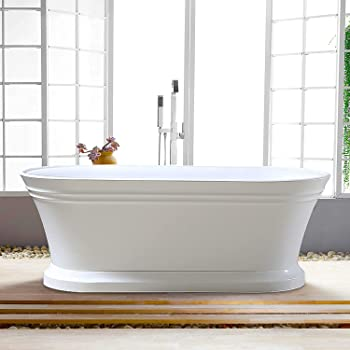 Vanity Art White Freestanding Acrylic Bathtub