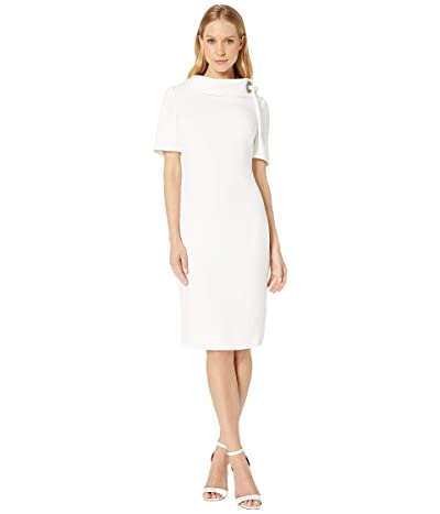 Badgley Mischka Tie Neck Dress (Ivory) Women