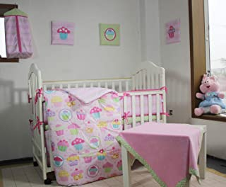 100% Cotton Pink Nursery Crib Bedding Set, Colorful Cup Cake/Cupcake Nursery Bedding Set for Baby Girl Princess Bedding 12 PCs Set with 3 Wall Hangings 2 Fitted Sheet Solid Cotton