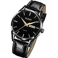 OLEVS Men's Watches Luxury Sports Casual Quartz Wristwatches Luxury Leather Watches -Waterproof...
