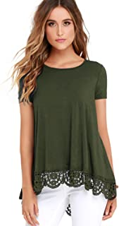 Women's Tops Long Sleeve Lace Trim O-Neck A-Line Tunic Tops