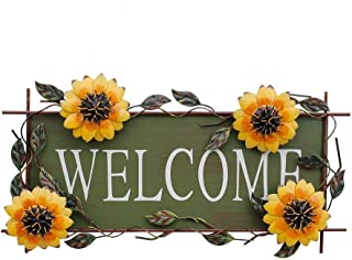 Metal Hanging Sunflower Welcome Wall Art Decorative Sign 17