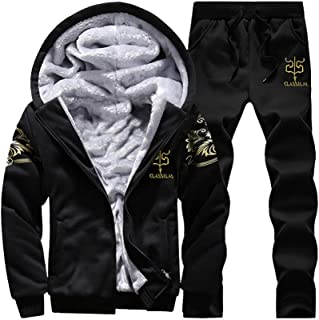 63d1bfaf80570 Faionny Men Tracksuit Hooded Zipper Jacket Warm Fleece Sweatpants  Hoodies+Pants Sweatsuit Black