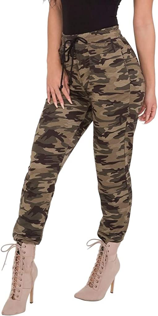 FUNEY Women's Printed Solid Activewear Jogger Track Cuff Sweatpants High Waisted Leggings for Women Tummy Control