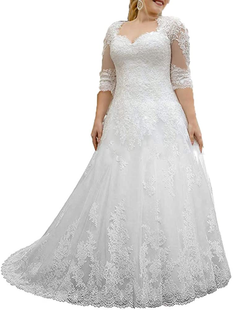 Women's Lace Wedding Dresses for Bride with 3/4 Sleeves Plus Size Bridal Gown