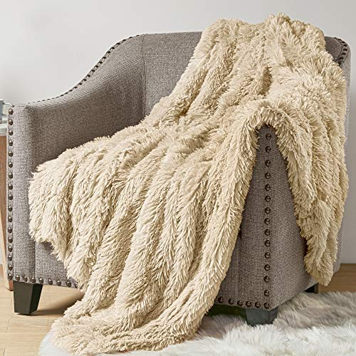 Hyde Lane Fluffy Plush Throw Blankets for Couch Sofa - 2 Way Reversible Ultra Soft Long Faux Fur Blanket | Shaggy Fuzzy Throw Blankets for Bedroom | Easy Care Washable Lightweight - 50x60 Beige