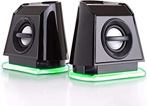 GOgroove 2MX LED Computer Speakers with Passive Woofer, Green Glowing Lights and 2.0 Stereo Sound - Wired 3.5mm Audio Input Connection, USB Powered for PC, Desktop and Laptop Computers