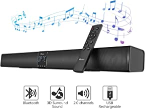 Foxnovo Soundbar 30 Inch Sound Bars for TV 40W Strong Bass Bluetooth Soundbar 4 Powerful Speaker 2 Bass Speaker Wired Home Theater Speaker with Remote Control & Wall Mountable