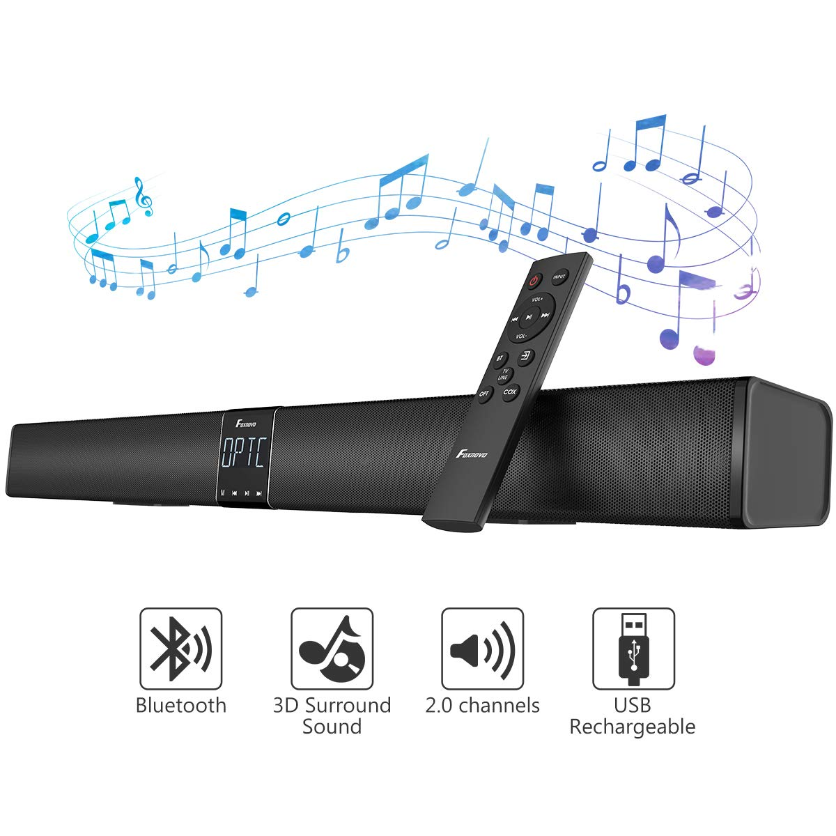 Foxnovo 110 dB Sound Bars for TV, 3D Surround Soundbar with 4 Powerful Speaker 2 Bass Speaker, 30 Inch 5.0 Bluetooth Wired Home Theater Speaker