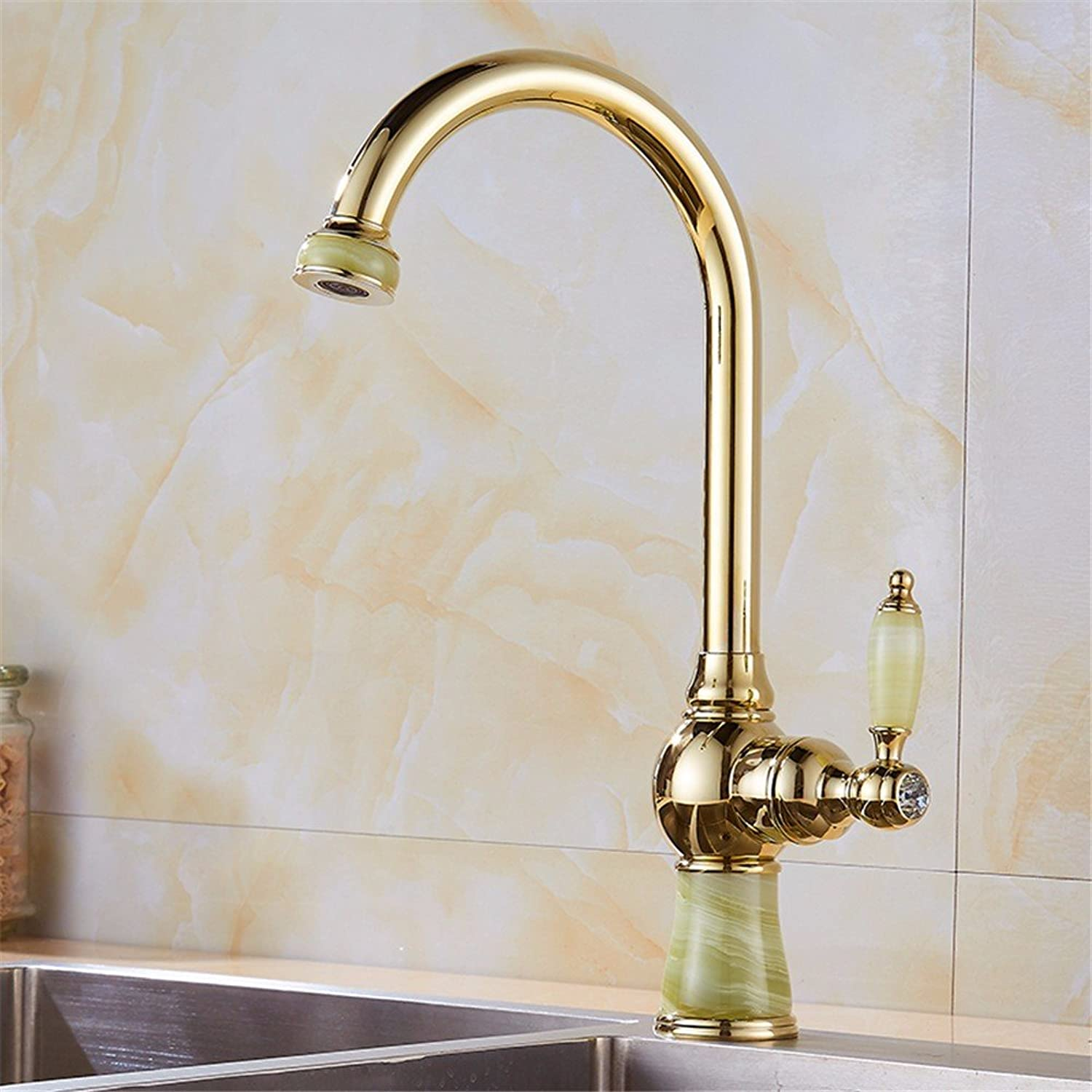Bijjaladeva Antique Bathroom Sink Vessel Faucet Basin Mixer Tap The Kitchen dish washing basin faucet sink bowl pool hot and cold Jade Dragon full copper gold to redate the faucet