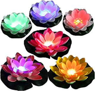 LACGO Battery-Operated Mixed Colors Waterproof Floating LED Lotus Light, Color-Changing Lily Flower Light, Flower Night Lamp, Pool Garden Fish Tank Wedding Decor(Pack of 6)+(2 Big Size Leaves 11'')