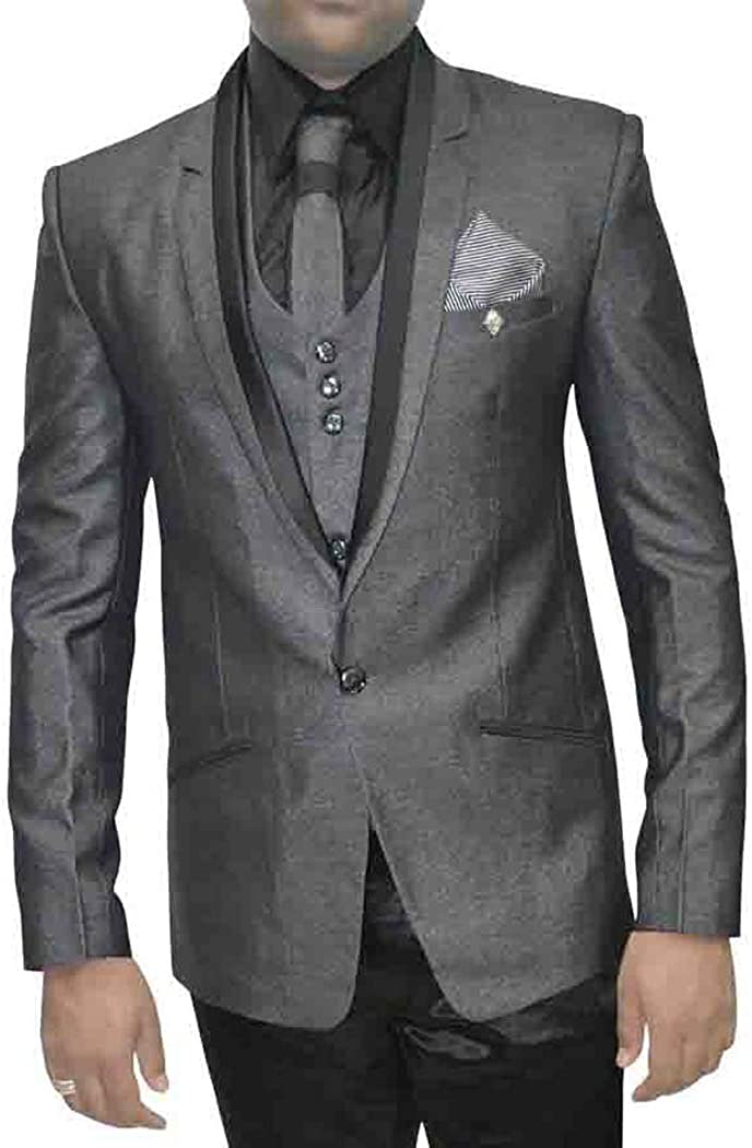INMONARCH Mens Gray 7 Pc Tuxedo Suit Wedding TX5084XL48 48 X-Long Dark-Gray