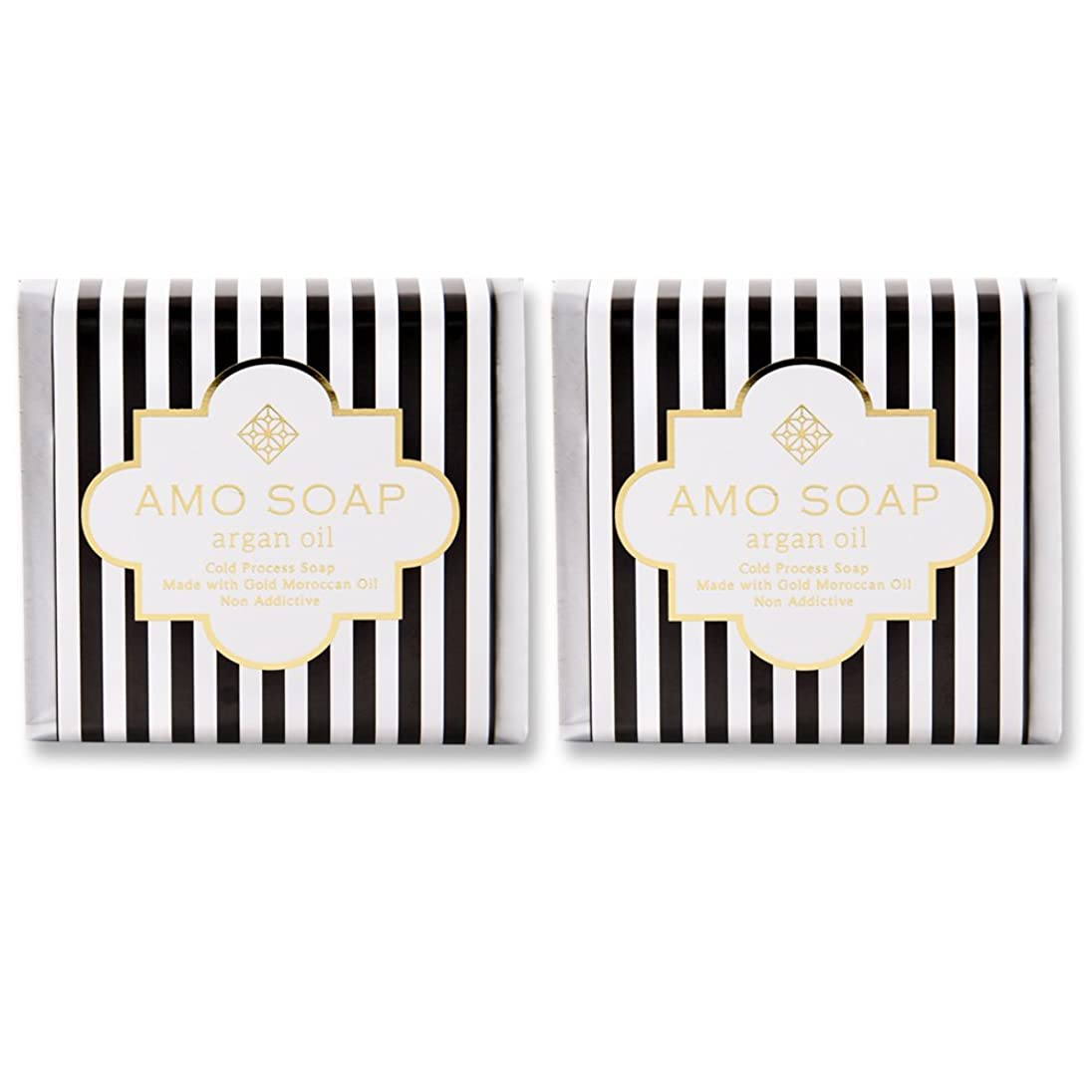 安価な戦略行商AMO SOAP(アモソープ) 洗顔せっけんアルガンオイル配合 2個 コールドプロセス製法 日本製 エイジングケア オリーブオイル シアバター