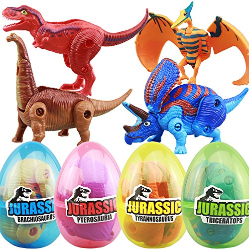 4 Pack Different Hatching Eggs Dinosaur Toys for 3+ Year Old Kids,Magic Egg that Hatch Dinosaurs Toy for Boy Girl Dino Fans,Deformation T-rex,Pterosaurs,Brachiosaurus,Triceratops(Random Color)