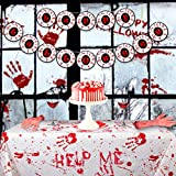 Halloween Tablecloth Banner Set - Rectangle Bloody Handprints Disposable Cover, Eyeball Happy Halloween Garland, Haunted Decorations for Hospital Zombie Theme Birthday Party, Large Size 2019 New