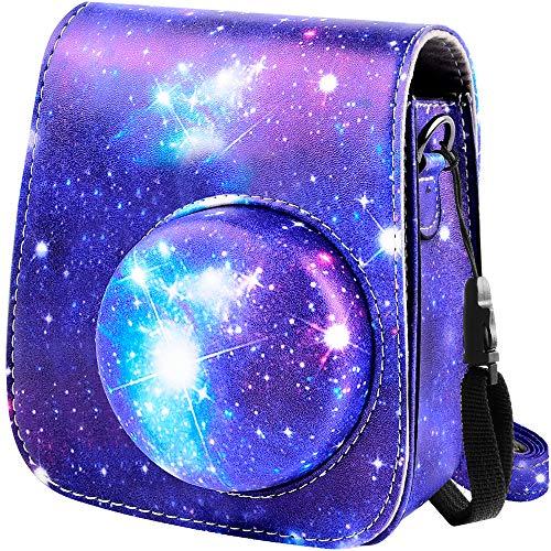Funda protectora y funda portátil compatible con cámara instantánea Fujifilm Instax Mini 11 con bolsillo para accesorios y correa ajustable (Galaxy)
