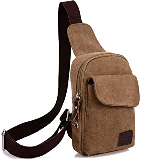 Men Women Shoulder Crossbody Chest Bag Classic Sling Slim Backpack Multipurpose Daypack Brown