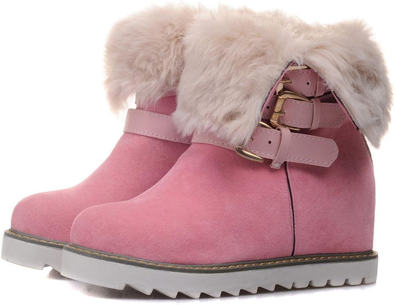 DoraTasia Nubuck Buckle Strap Artificial Plush Women's Ankle Snow Boots