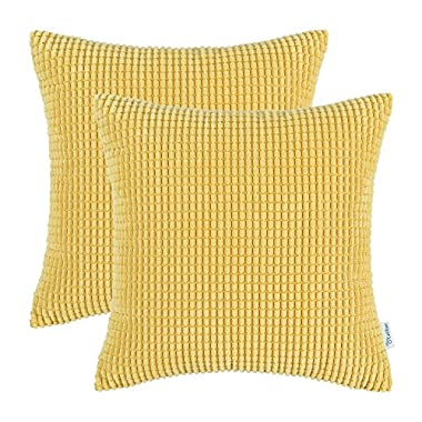 CaliTime Pack of 2, Throw Pillow Covers Cases for Couch Sofa Bed, Comfortable Supersoft Corduroy Corn Striped Both Sides, 18 X 18 Inches, Yellow/Gold
