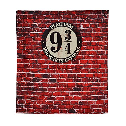 Elbenwald Harry Potter Duschvorhang Wand Banner Gleis 9 3/4 Frontprint 180 x 200 cm Polyester rot