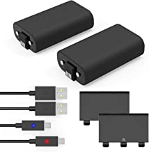 Xbox One Controller Battery Pack Compatible with Xbox One Play and Charge Kit, 2x1200mAh Rechargeable Battery Twin Pack for Xbox One with 5Ft/1.5M Micro USB Charging Cable for Xbox One/One S/One X