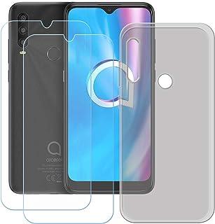 TTJ Grått skal för Alcatel 1SE 2020 [2 stycken] HD pansarglas, mobiltelefonfodral silikon skyddande fodral TPU fodral mobi...