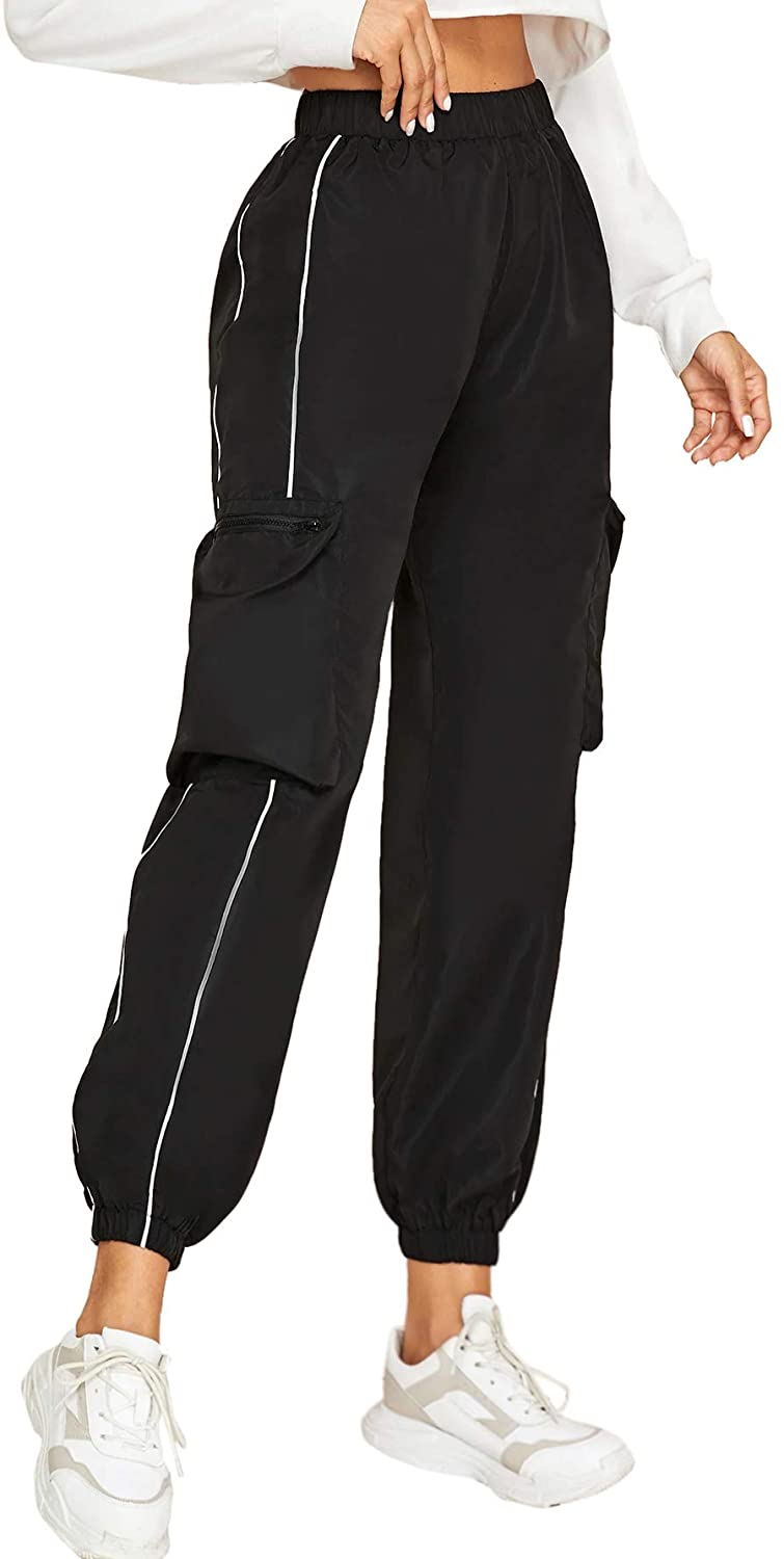 Milumia Womens Casual Elastic High Waist Crop Cargo Jogger Sport Pant with Pocket