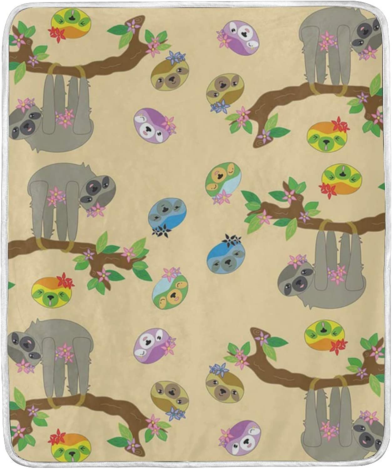 CIXUAN Cute Funnt Flowers Sloth Print Throw Blanket Comfort Design Home Decoration Lightweight Blanket for Kids Boys Women Men Perfect for Couch Sofa or Travelling